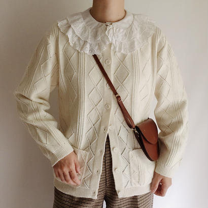 USA 70's Ivory Diamond knitting Cardigan