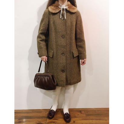 Euro Vintage Mouton Round Collar Coat
