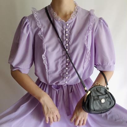 USA Lavender Multiple Button Flare Dress