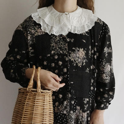 Euro Vintage Flower  × Dot Patchwork Print Dress