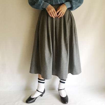 U.K. 70's - 80's Gray Wool Mix Flare Skirt