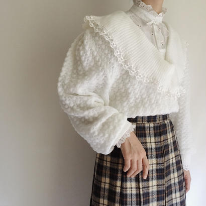 Euro Vintage Lace × Big Collar Knit Sweater
