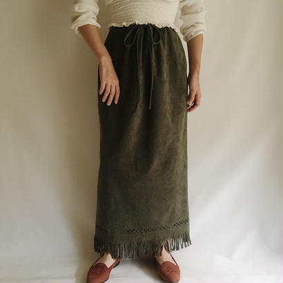 Euro Vintage Olive Color Fringe Long Skirt