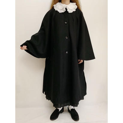Euro  Vintage Black Wide Siilhouette Long Coat