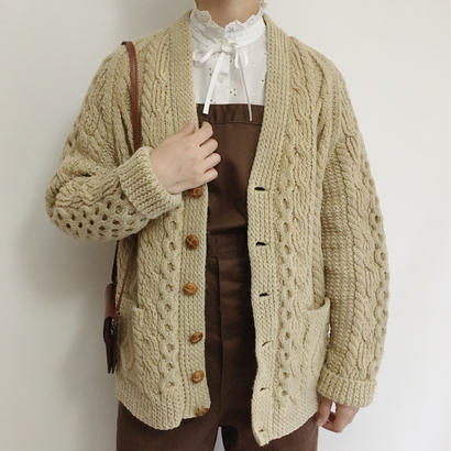 70s Beige Irish Cable Knit Cardigan