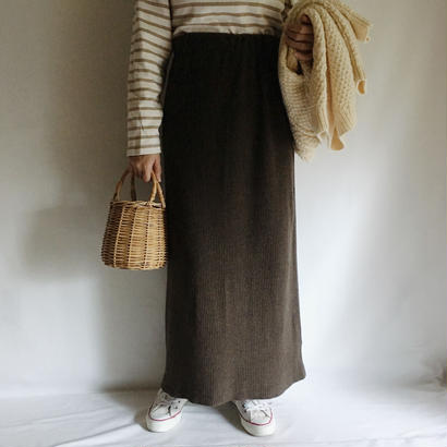 Euro  Vintage Deep Brown Long Knit Skirt