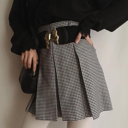 eurovintage gingham check pleats mini skirt