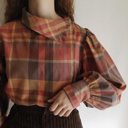 Euro Vintage Plaid  Volume Sleeve Blouse
