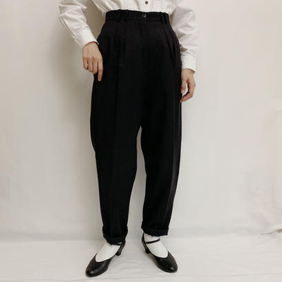 80s-90s Euro Vintage Cashmere Blend Two Tuck Tapered Pants