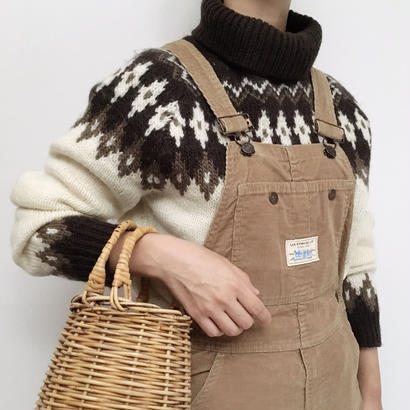 Euro Vintage Turtleneck Nordic Knit Sweater