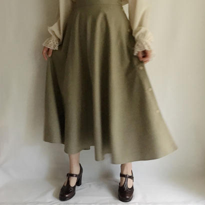 USA Khaki flare long skirt
