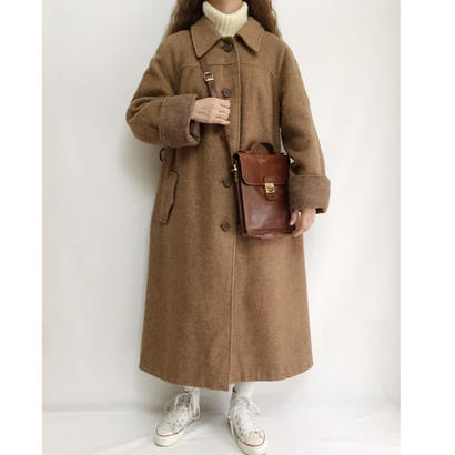 Euro Vintage Light Brown Long Coat With Belt