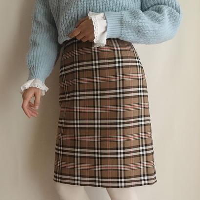 eurovintage  plaid semi tight skirt