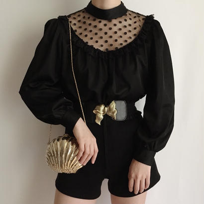 Euro  Vintage Black dot design blouse
