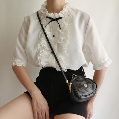 Euro Vintage Stand Collar Frill Lace Blouse