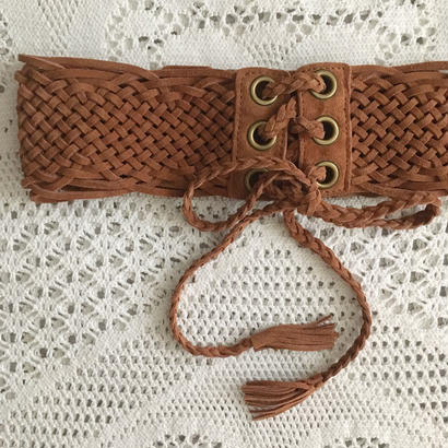 【 brown】 mesh leather belt