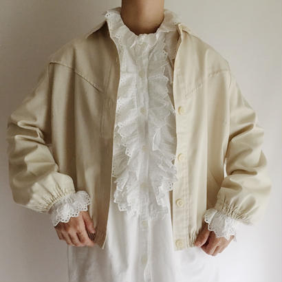 Euro Vintage Light Beige Work Jacket