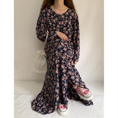 80's Flower Print Front Button Long Dress