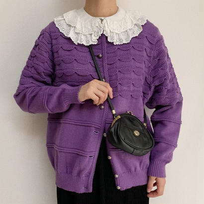 Euro Vintage Border Scallop Knit Cardigan