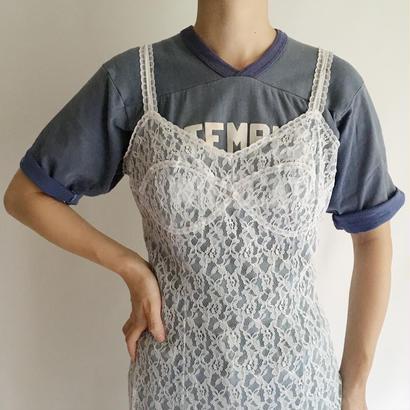 Euro Vintage Ice Blue Lace  Slip Dress
