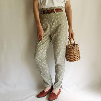 Euro Vintage Dot × Flower Print Tapered Pants