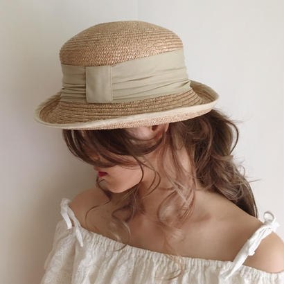 【beige】ribbon straw hat