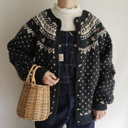 USA Orvis Flower Embroidery Nordic Knit Cardigan