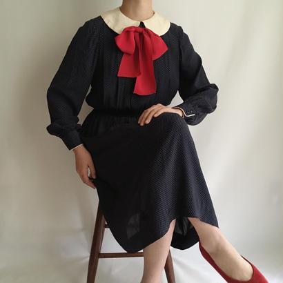 USA Round Collar Ribbon Design Dress