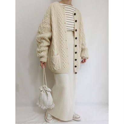 70s Ivory Irish Cable Knit Cardigan