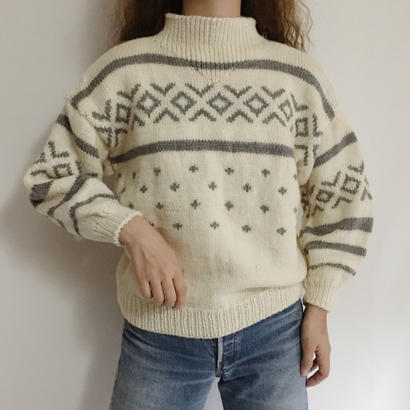 Euro Vintage Mockneck Hand Knit Sweater