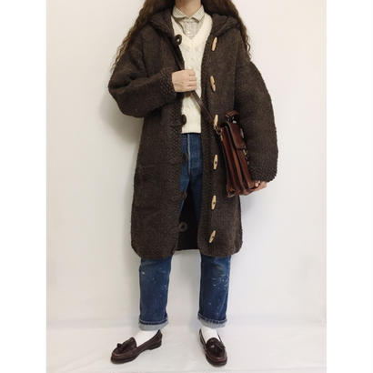 Brown Knit Duffle Coat