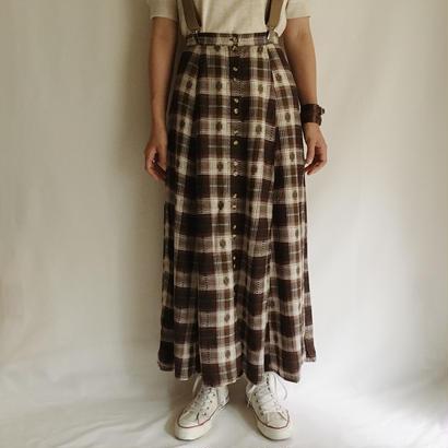 Euro Vintage Brown Shadow Check Long Skirt