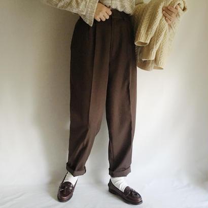 Euro Vintage Brown Center Pressed Tapered Pants