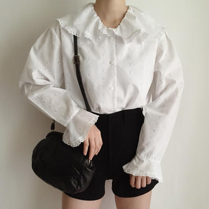 Euro Vintage cut work lace blouse