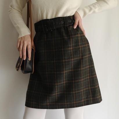 eurovintage plaid skirt with belt