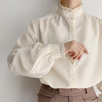 80's Euro Vintage Stand Collar Volume Sleeve Blouse