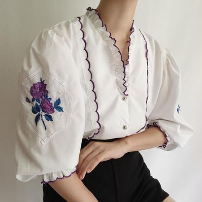 Euro Vintage Flower Embroidery Volume Sleeve Blouse