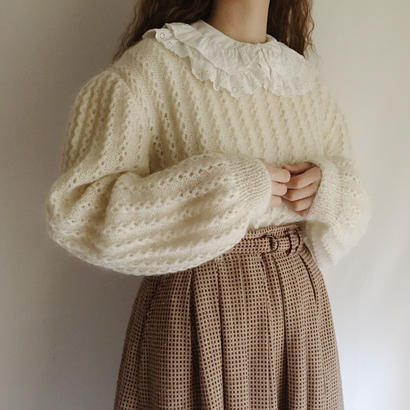 Euro Vintage Volume Sleeve Hand Knit  Sweater