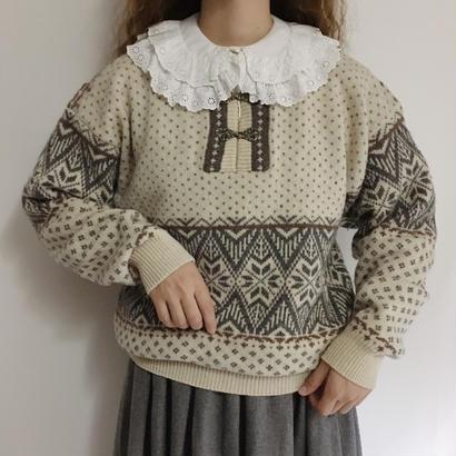 Euro Vintage Nordic Knit Sweater