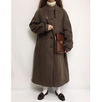 Euro Vintage Brown Mohair Mix Herringbone Long Coat