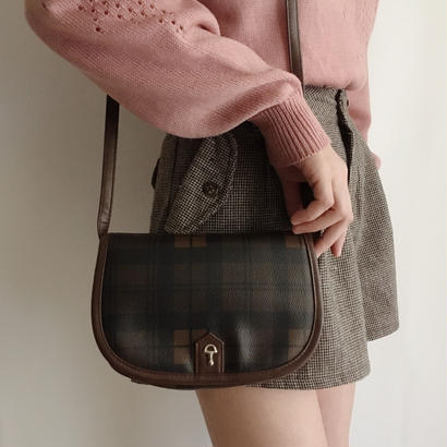 Brown plaid  shoulder bag