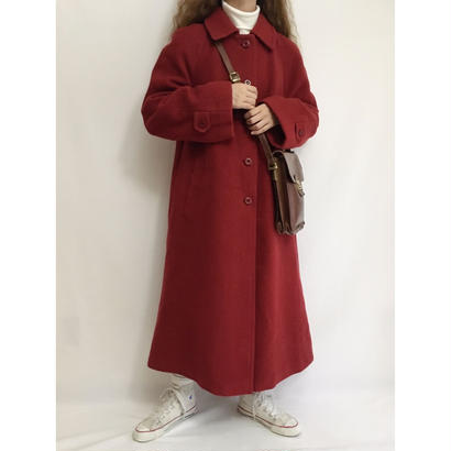 Euro Vintage Burgundy Aline Long Coat