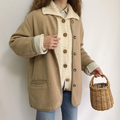 Euro Vintage Beige Collarless  Short Coat