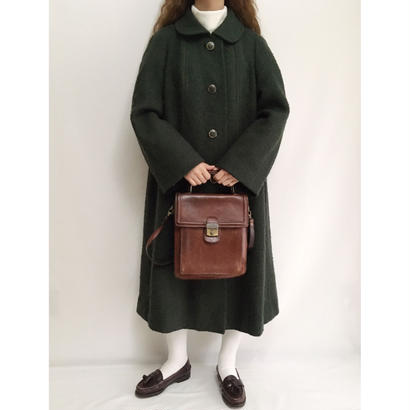 Euro Vintage Deep Green Round Collar Aline Long Coat