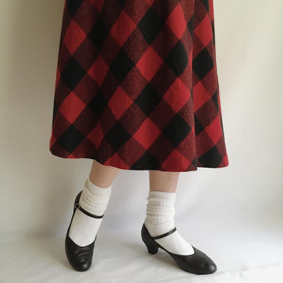 USA 80's Block Check  Flare Skirt