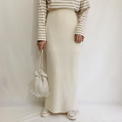 Euro Vintage Ivory Knit Long Skirt