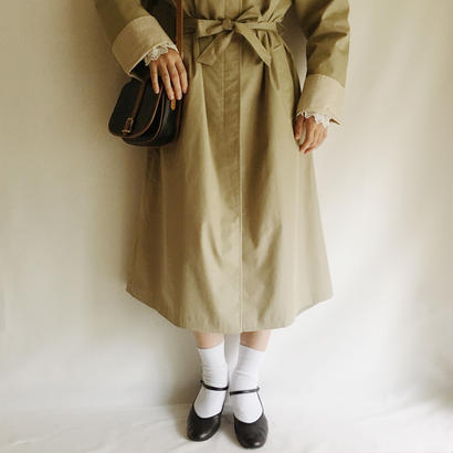 Euro Vintage Light Khaki Long Coat