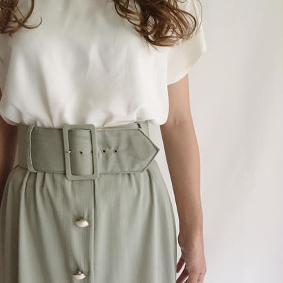 USA White × Pale Green Dress With Belt
