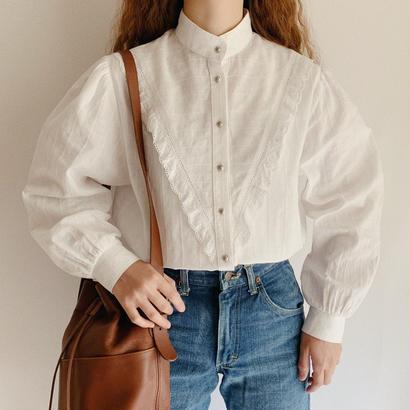 Euro Vintage Cotton Stand Collar Volume Sleeve Blouse