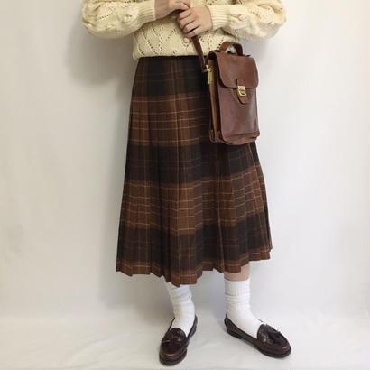 Euro Vintage Deep Brown Check Pleats Skirt